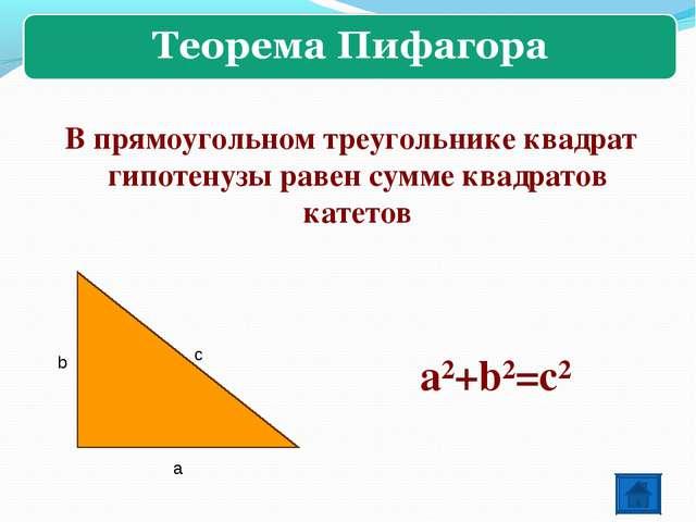 b с а a²+b²=c² В прямоугольном треугольнике квадрат гипотенузы равен сумме кв...