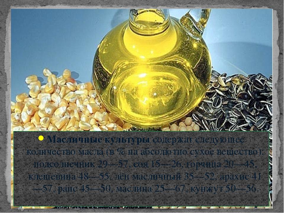 Масличные культуры содержат следующее количество масла (в % на абсолютно сухо...