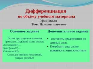 Дифференциация по объёму учебного материала Урок письма Тема: Название призна