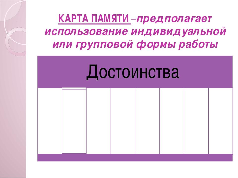 КАРТА ПАМЯТИ –предполагает использование индивидуальной или групповой формы р...