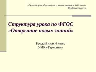 Структура урока по ФГОС «Открытие новых знаний» Русский язык 4 класс УМК «Гар