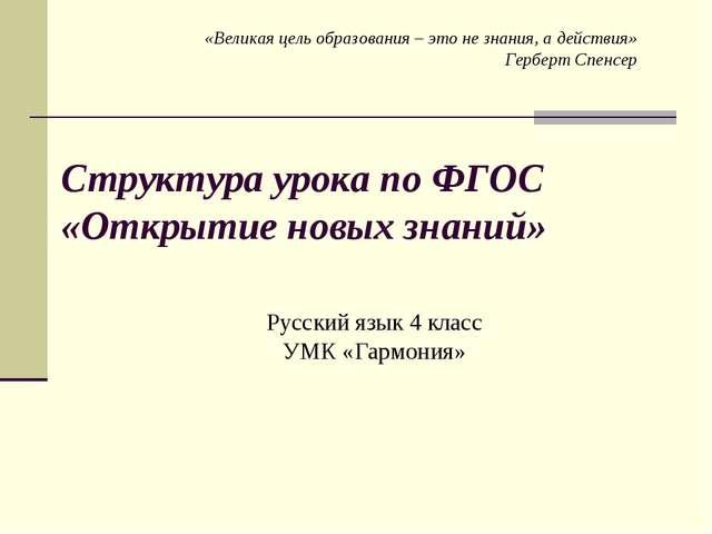 Структура урока по ФГОС «Открытие новых знаний» Русский язык 4 класс УМК «Гар...