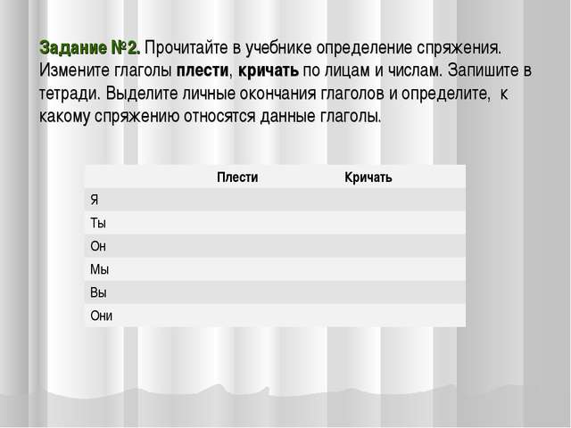 Задание №2. Прочитайте в учебнике определение спряжения. Измените глаголы пле...