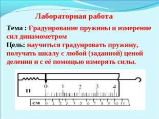 Тема : Градуирование пружины и измерение сил динамометром Цель: научиться гра