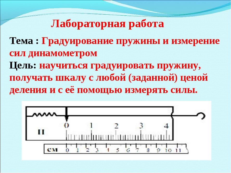 Тема : Градуирование пружины и измерение сил динамометром Цель: научиться гра...