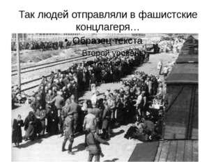 Так людей отправляли в фашистские концлагеря…