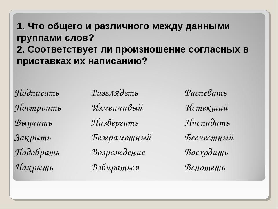 1. Что общего и различного между данными группами слов? 2. Соответствует ли п...