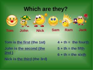 Which are they? Tom John Nick Sam Ram Jack Tom is the first (the 1st) John i