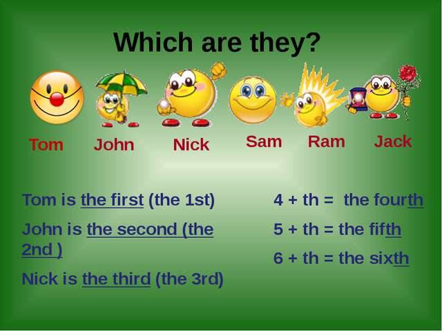 Which are they? Tom John Nick Sam Ram Jack Tom is the first (the 1st) John i...