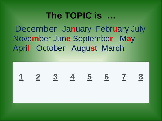 The TOPIC is … December January February July November June September May Ap...