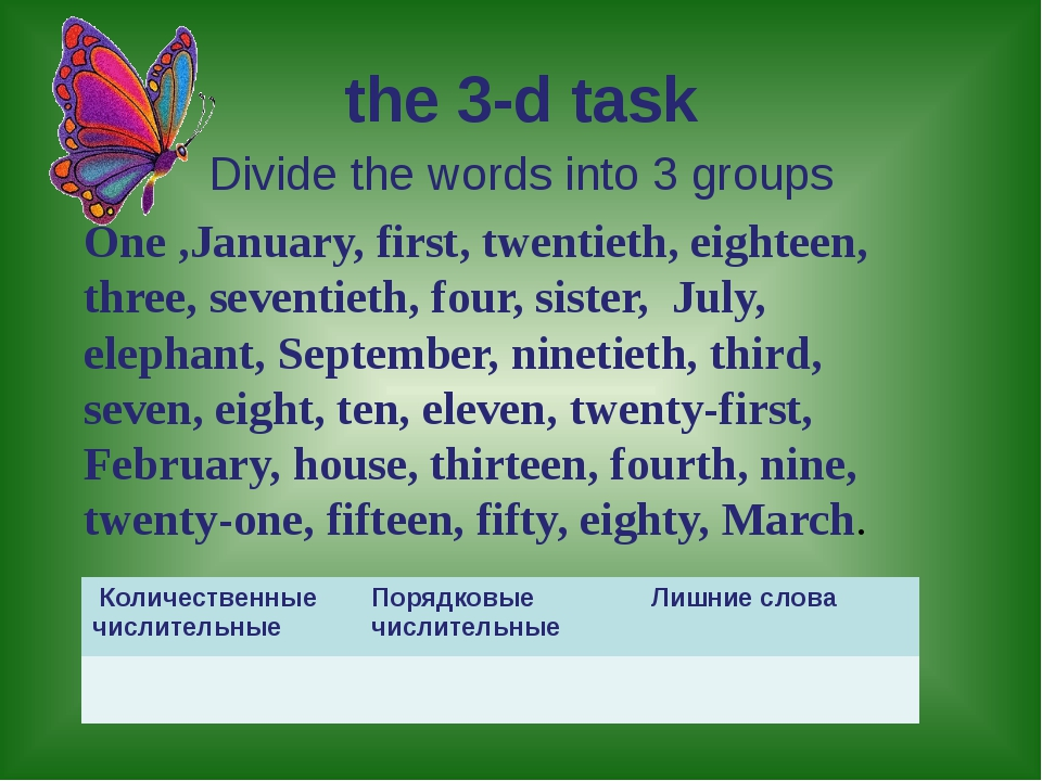 the 3-d task Divide the words into 3 groups One ,January, first, twentieth, e...