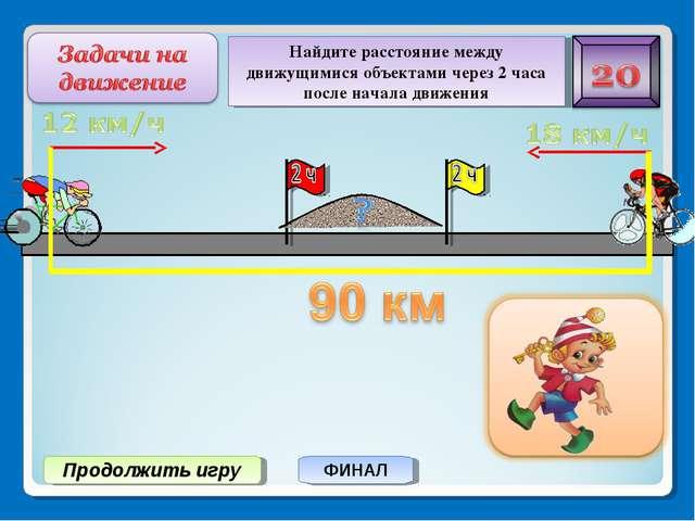 Продолжить игру ФИНАЛ Найдите расстояние между движущимися объектами через 2...
