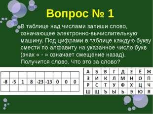 Вопрос № 1 В таблице над числами запиши слово, означающее электронно-вычислит