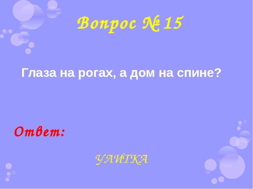 Вопрос № 15 Глаза на рогах, а дом на спине? Ответ: УЛИТКА