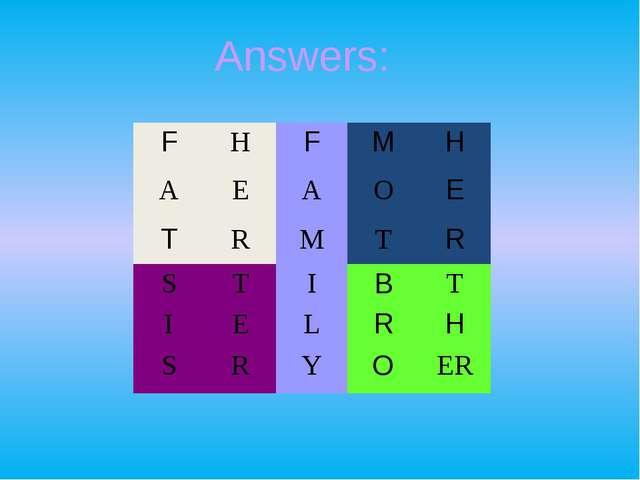 Answers: F H F M H A E A O E T R M T R S T I B T I E L R H S R Y O ER