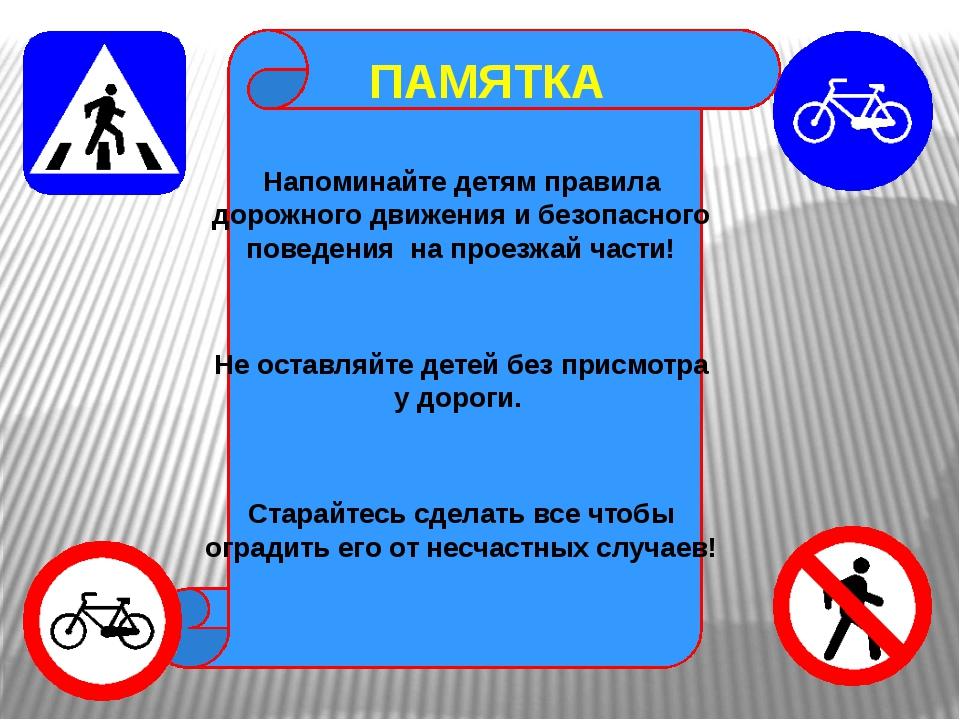 ПАМЯТКА Напоминайте детям правила дорожного движения и безопасного поведения...