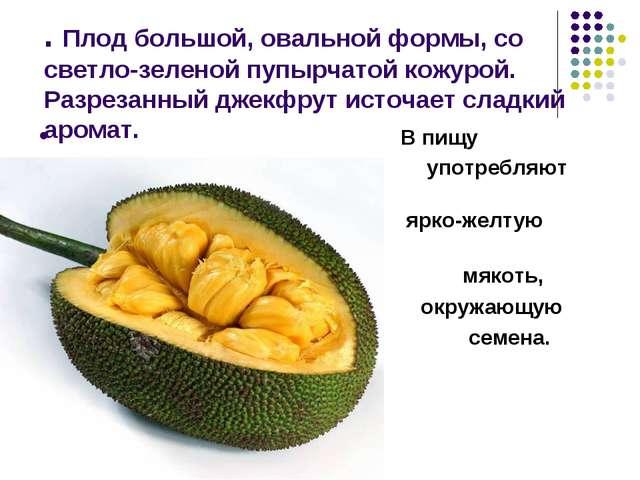 . Плод большой, овальной формы, со светло-зеленой пупырчатой кожурой. Разреза...