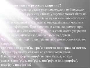 Что нужно знать о русском ударении? Ударение в русском языкеразноместноеип