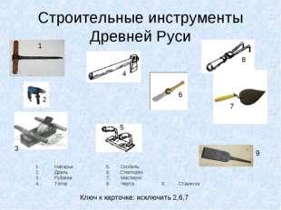 Строительные инструменты Древней Руси Напарье 5. Скобель Дрель  6. Стеклоре