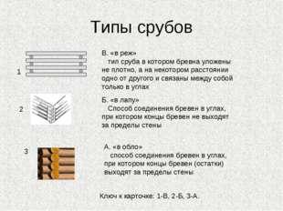 Типы срубов 1 2 3 В. «в реж» тип сруба в котором бревна уложены не плотно, а