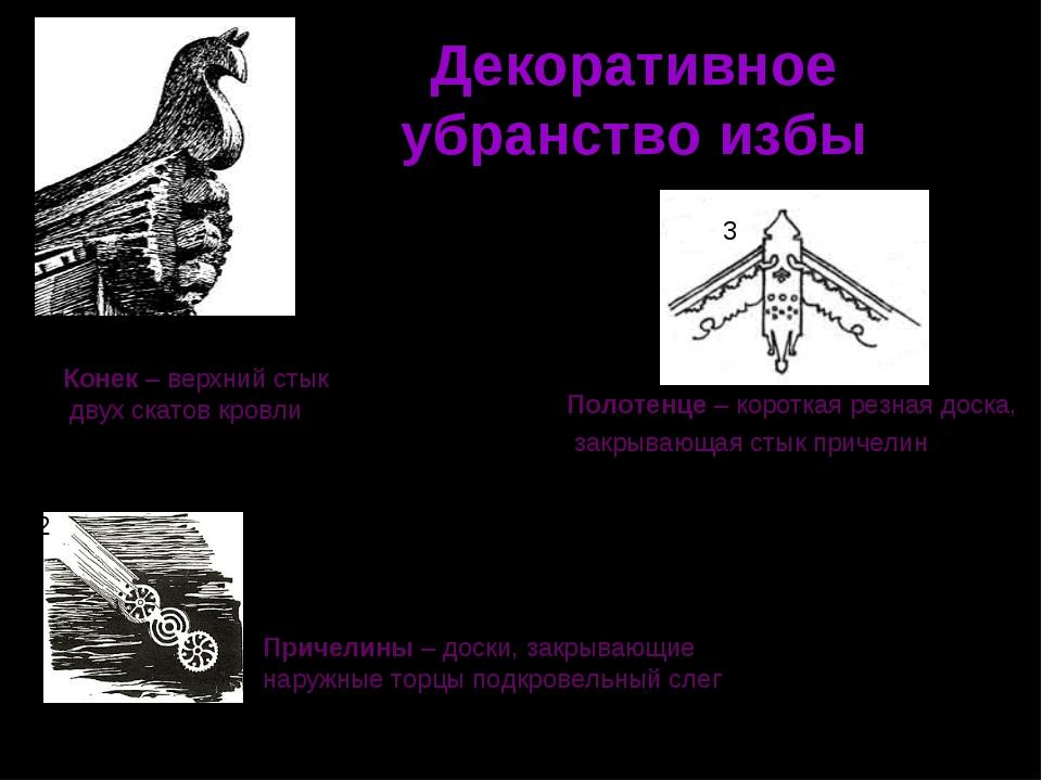 Декоративное убранство избы 1 2 3 Конек – верхний стык двух скатов кровли При...