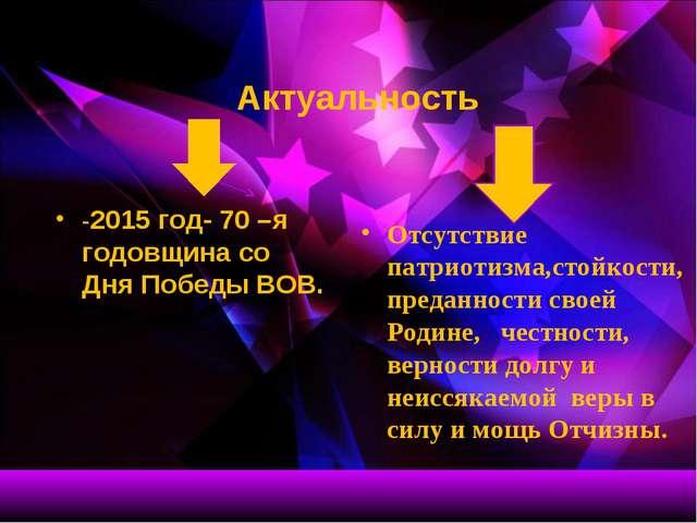 Актуальность -2015 год- 70 –я годовщина со Дня Победы ВОВ. Отсутствие патрио...