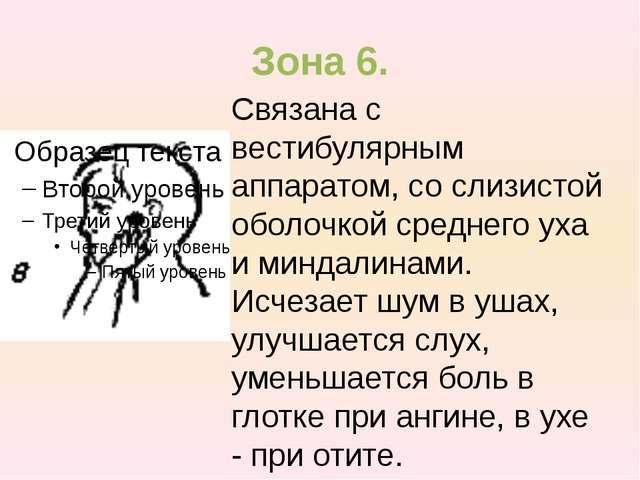 Зона 6. Связана с вестибулярным аппаратом, со слизистой оболочкой среднего ух...