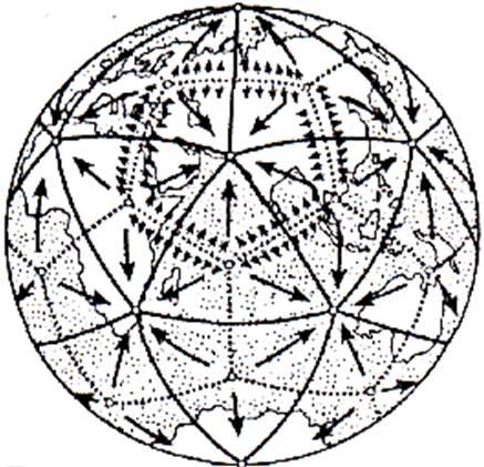 Икосаэдро-додекаэдровая структура Земли. Рис. 7. Икосаэдро- додекаэдровая структура Земли. Идеи Платона и Кеплера о связи правильных многогранников с гармоничным устройством мира и в наше время нашли своё продолжение в интересной научной гипотезе, которую в начале 80-х гг. высказали московские инженеры В. Макаров и В. Морозов. Они считают, что ядро Земли имеет форму и свойства растущего кристалла,оказывающего воздействие на развитие всех природных процессов, идущих на планете.