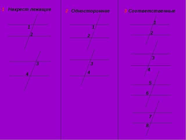 Накрест лежащие 1 2 3 4 Односторонние Соответственные 1 1 2 2 3 3 4 4 5 6 7 8...
