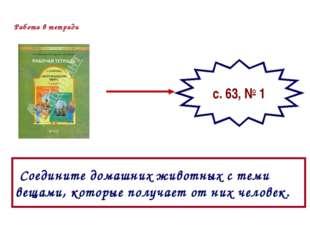 Работа в тетради с. 63, № 1 Соедините домашних животных с теми вещами, которы