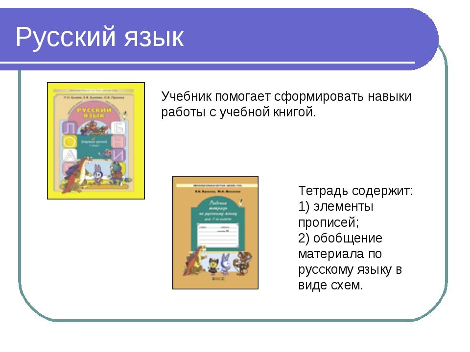Русский язык Тетрадь содержит: 1) элементы прописей; 2) обобщение материала п...