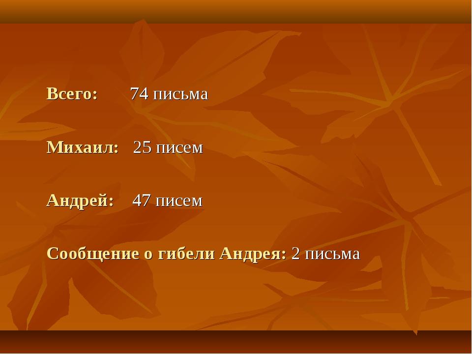 Всего: 74 письма Михаил: 25 писем Андрей: 47 писем Сообщение о гибели Ан...