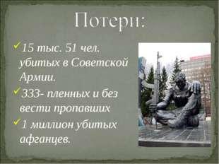 15 тыс. 51 чел. убитых в Советской Армии. 333- пленных и без вести пропавших