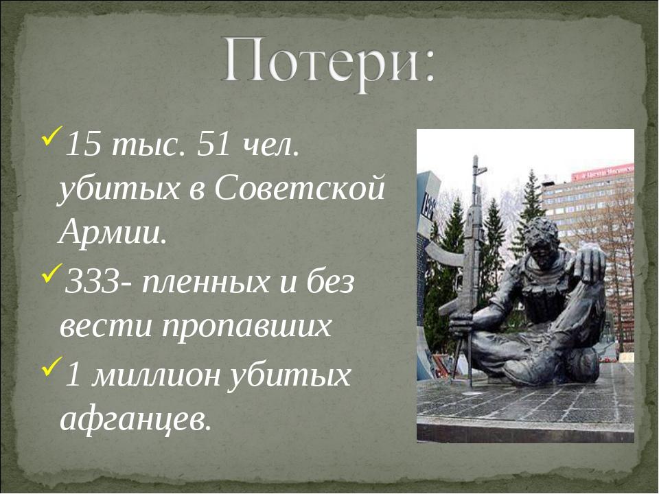15 тыс. 51 чел. убитых в Советской Армии. 333- пленных и без вести пропавших...
