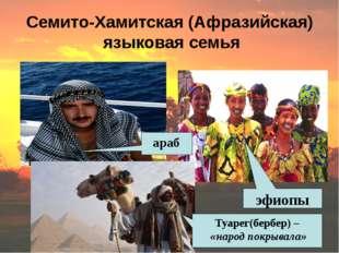 Семито-Хамитская (Афразийская) языковая семья араб эфиопы Туарег(бербер) – «н