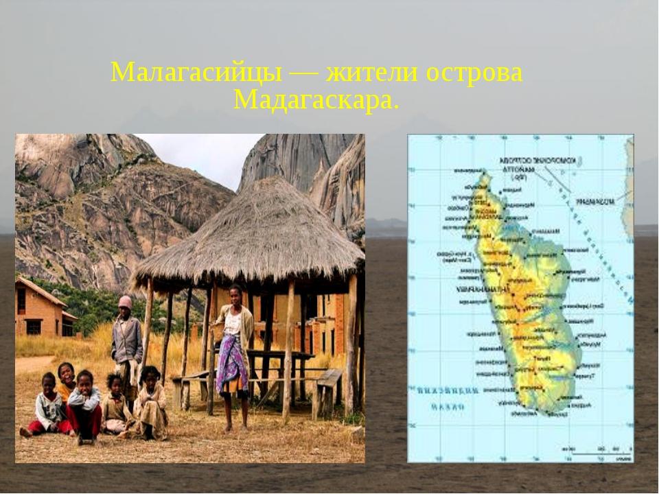 Малагасийцы— жители острова Мадагаскара.