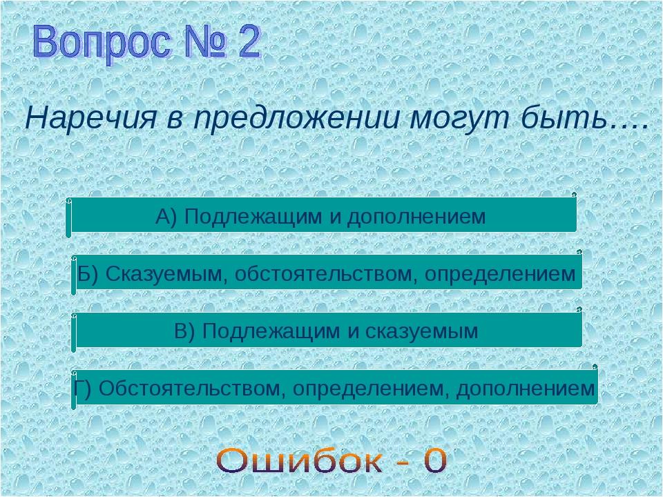 Наречия в предложении могут быть…. А) Подлежащим и дополнением Б) Сказуемым,...