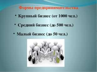 Формы предпринимательства Крупный бизнес (от 1000 чел.) Средний бизнес (до 50