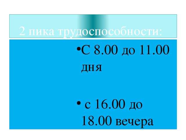 2 пика трудоспособности: С 8.00 до 11.00 дня с 16.00 до 18.00 вечера