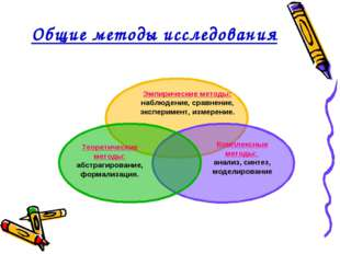 Общие методы исследования Эмпирические методы: наблюдение, сравнение, экспери
