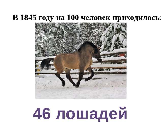 В 1845 году на 100 человек приходилось: 46 лошадей