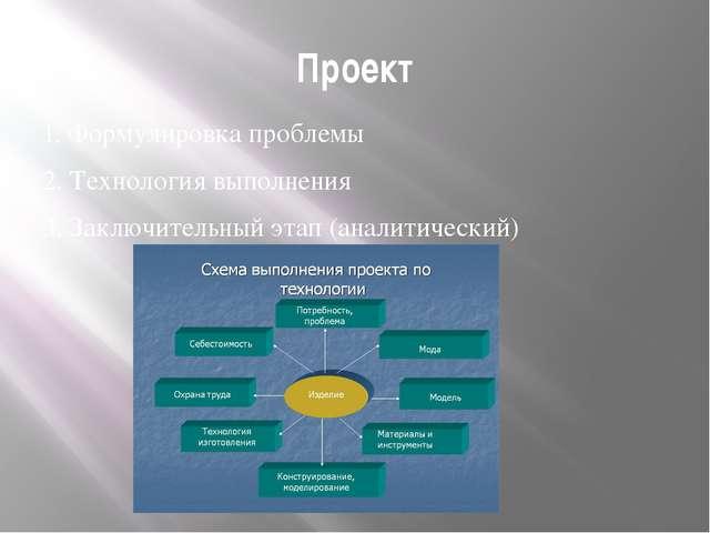 Проект 1. Формулировка проблемы 2. Технология выполнения 3. Заключительный эт...
