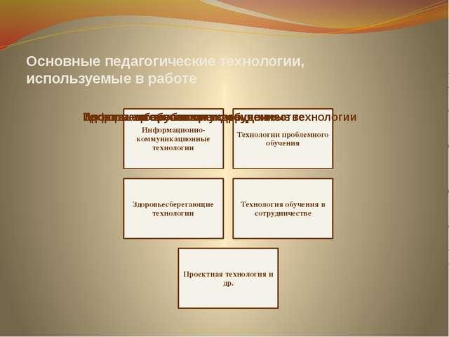 Основные педагогические технологии, используемые в работе