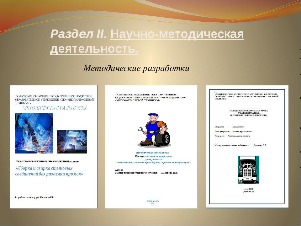 Раздел II. Научно-методическая деятельность. Методические разработки