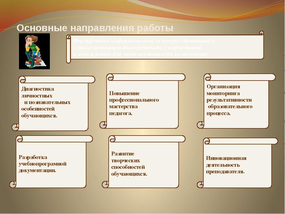 Основные направления работы Формирование информационной культуры обучающихся...