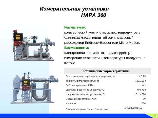 4 Измерительная установка НАРА 300 Назначение: коммерческий учет и отпуск неф...