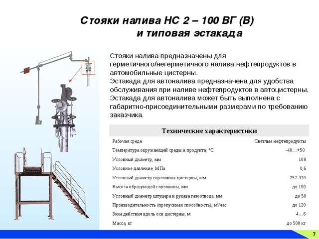 7 Стояки налива НС 2 – 100 ВГ (В) и типовая эстакада Стояки налива предназнач...