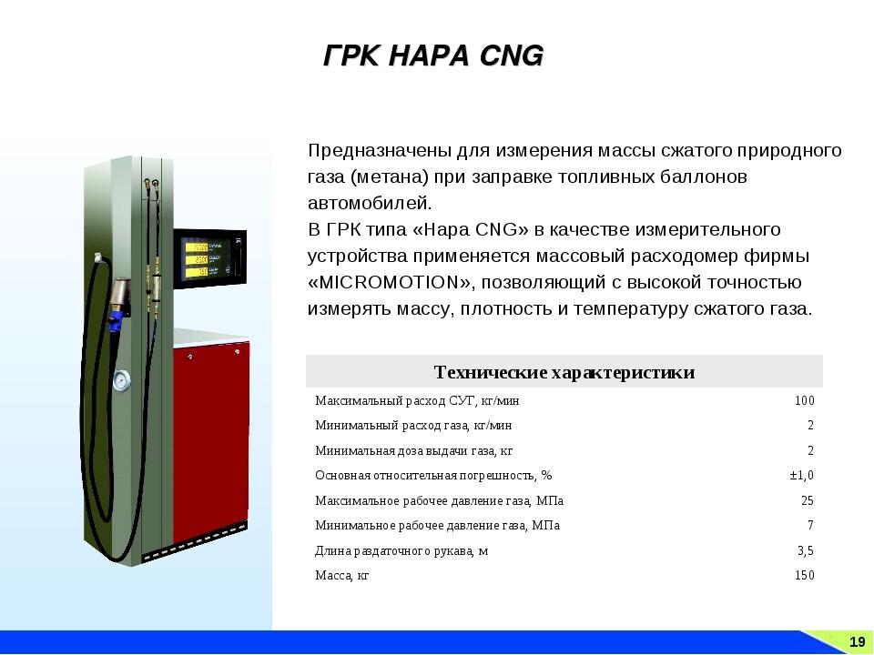 19 ГРК НАРА CNG Предназначены для измерения массы сжатого природного газа (ме...