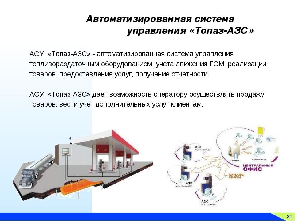 21 Автоматизированная система управления «Топаз-АЗС» АСУ «Топаз-АЗС» - автома...