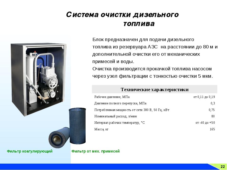 22 Система очистки дизельного топлива Фильтр коагулирующий Фильтр от мех. при...